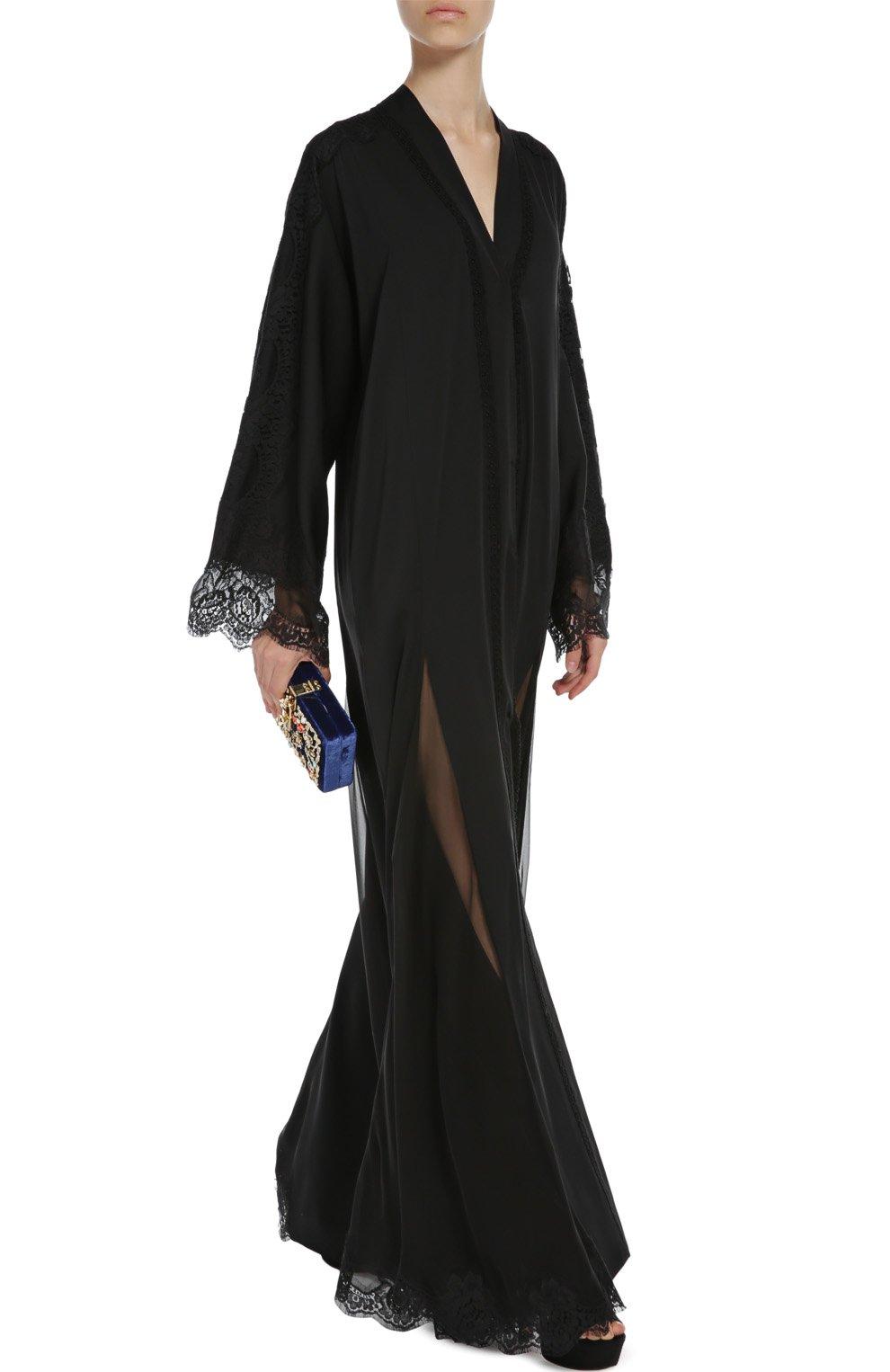 Шелковая абайя с кружевной отделкой Dolce & Gabbana черное | Фото №2