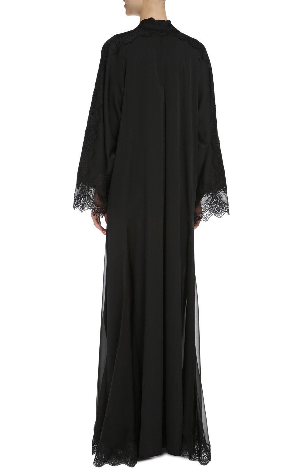 Шелковая абайя с кружевной отделкой Dolce & Gabbana черное | Фото №3