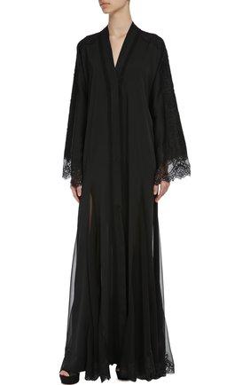 Шелковая абайя с кружевной отделкой Dolce & Gabbana черное | Фото №4