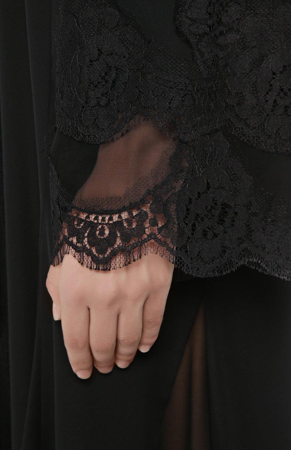 Шелковая абайя с кружевной отделкой Dolce & Gabbana черное | Фото №5