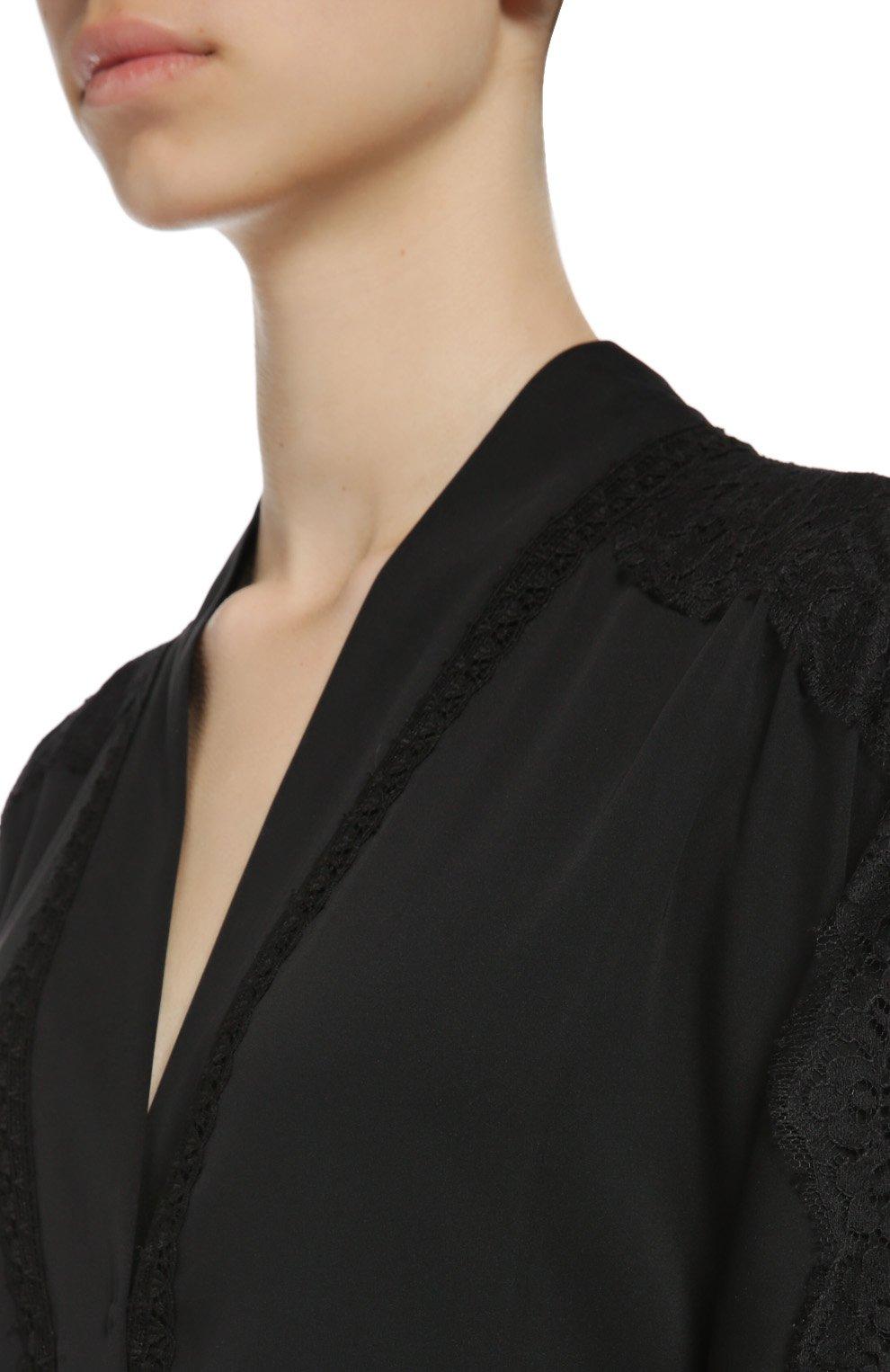 Шелковая абайя с кружевной отделкой Dolce & Gabbana черное | Фото №6