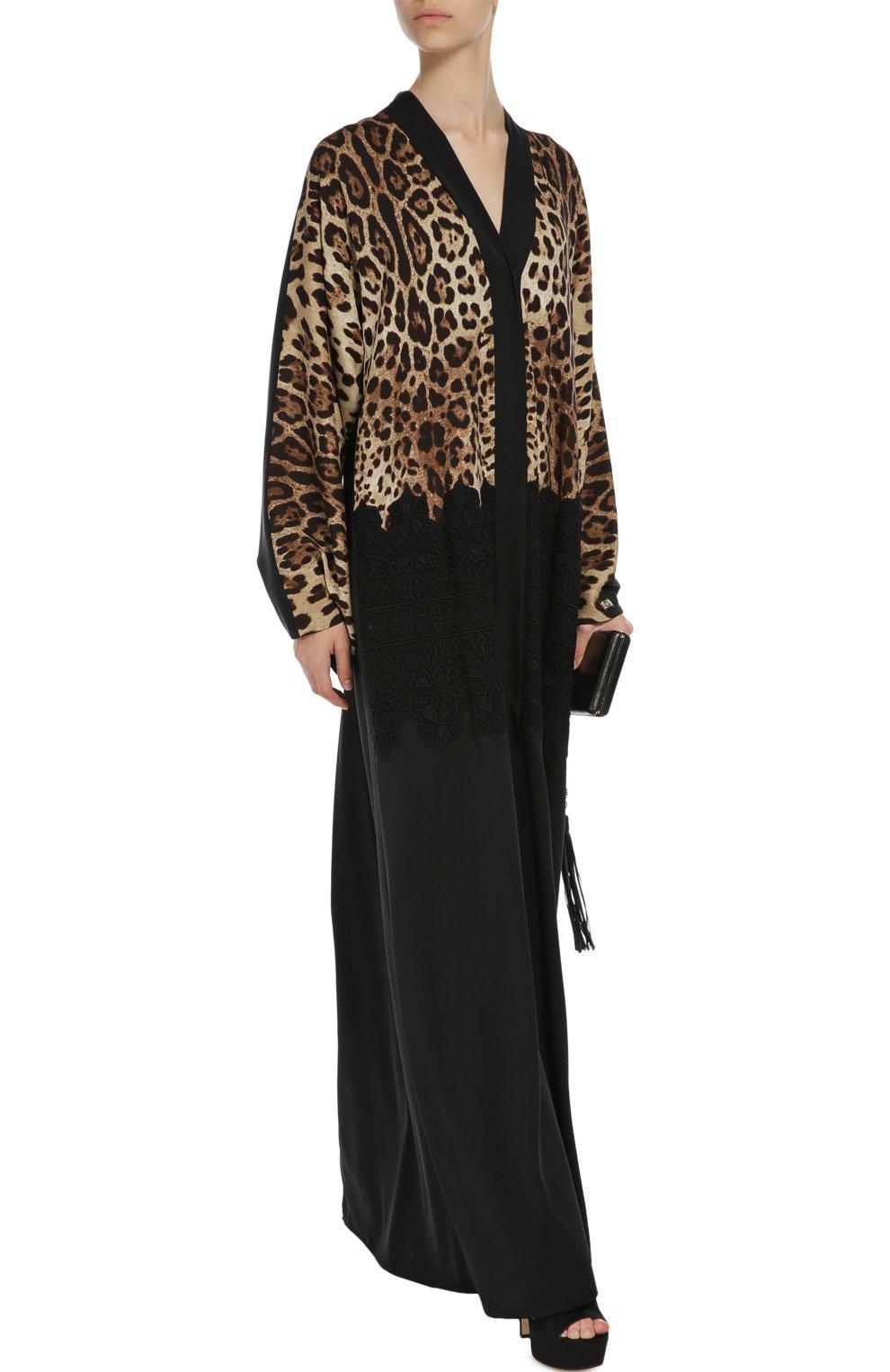 Шелковая абайя с кружевной отделкой и леопардовым принтом   Фото №2