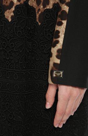 Шелковая абайя с кружевной отделкой и леопардовым принтом   Фото №5