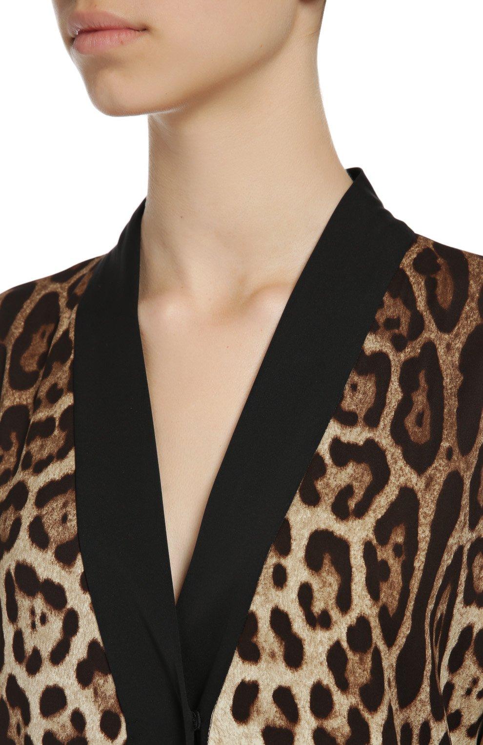Шелковая абайя с кружевной отделкой и леопардовым принтом   Фото №6