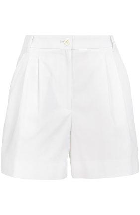 Мини-шорты с завышенной талией и защипами Dolce & Gabbana белые | Фото №1