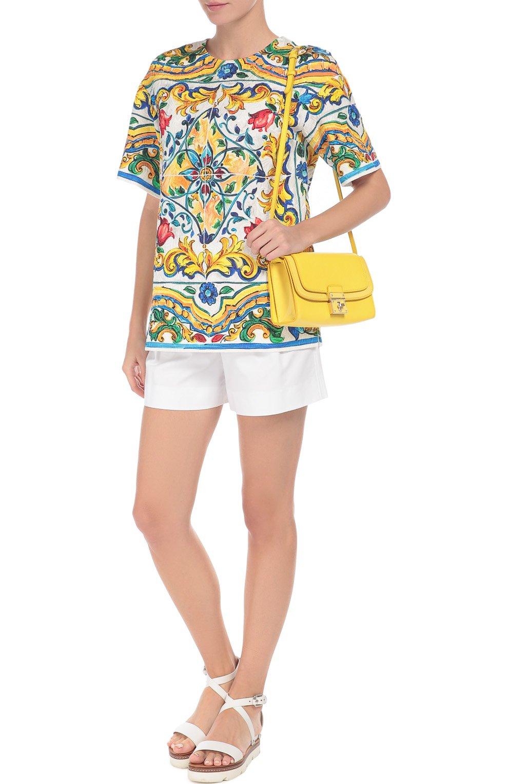 Мини-шорты с завышенной талией и защипами Dolce & Gabbana белые | Фото №2