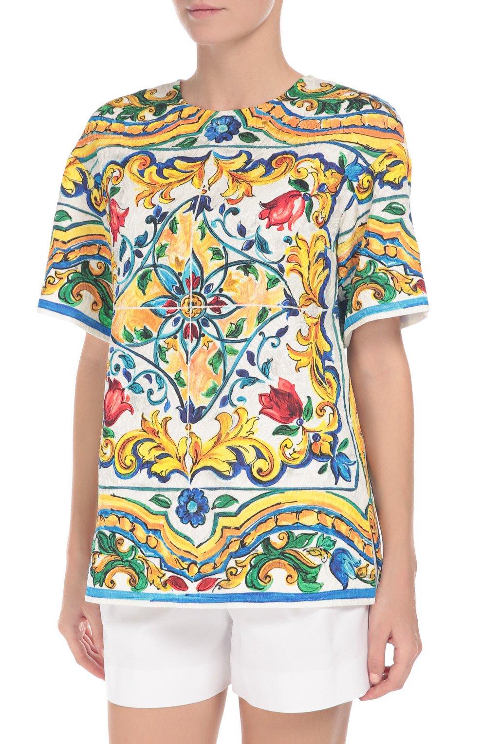 Мини-шорты с завышенной талией и защипами Dolce & Gabbana белые | Фото №3