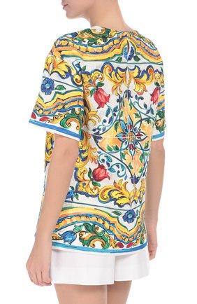 Мини-шорты с завышенной талией и защипами Dolce & Gabbana белые | Фото №4