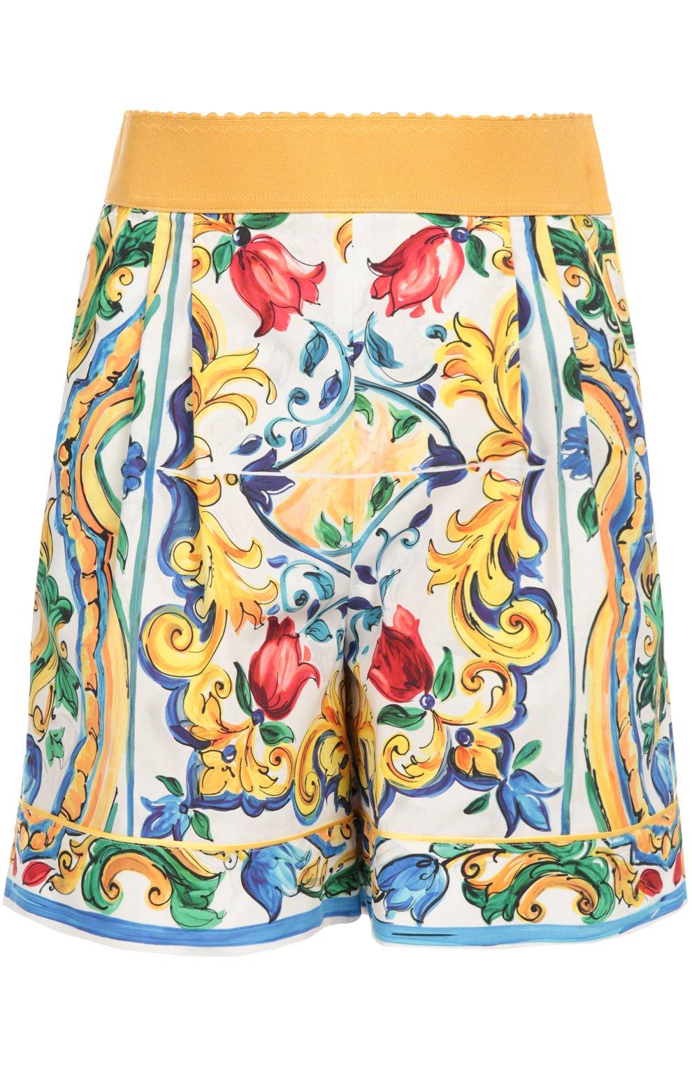 Мини-шорты с ярким принтом и завышенной талией | Фото №1