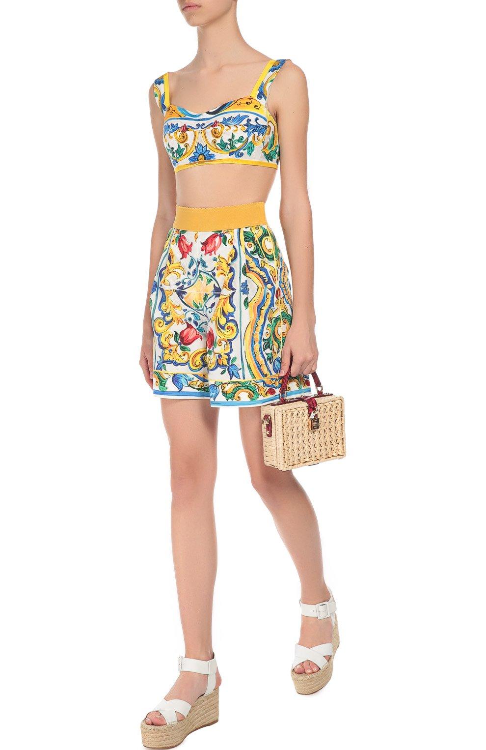 Мини-шорты с ярким принтом и завышенной талией | Фото №2