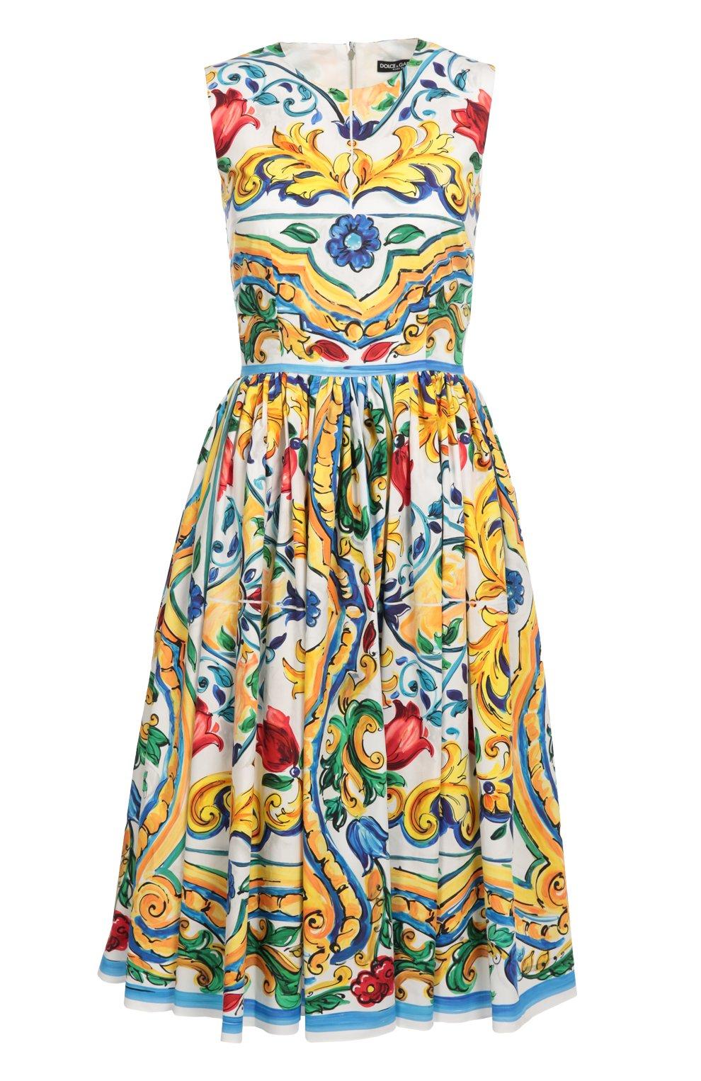 Приталенное платье без рукавов с цветочным принтом | Фото №1