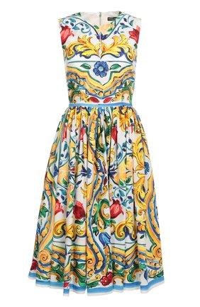Приталенное платье без рукавов с цветочным принтом Dolce & Gabbana разноцветное | Фото №1