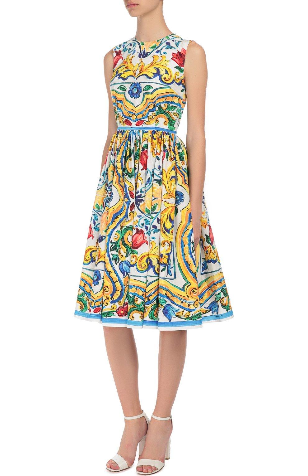 Приталенное платье без рукавов с цветочным принтом Dolce & Gabbana разноцветное | Фото №3