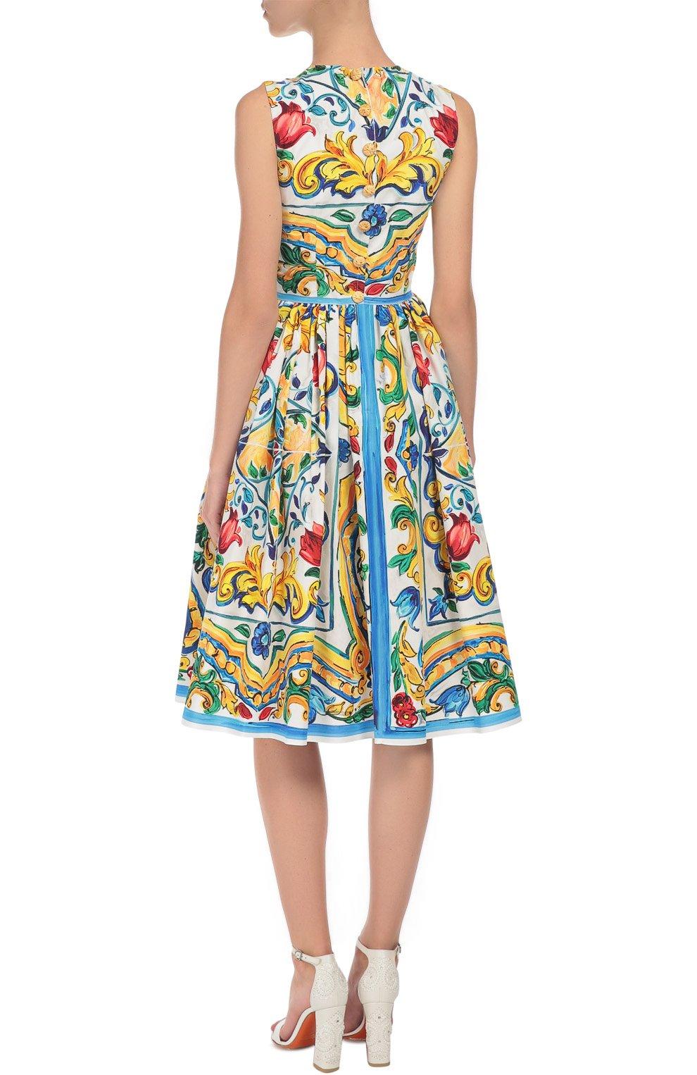 Приталенное платье без рукавов с цветочным принтом Dolce & Gabbana разноцветное | Фото №4
