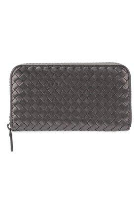 Кожаное портмоне на молнии с плетением intrecciato | Фото №1