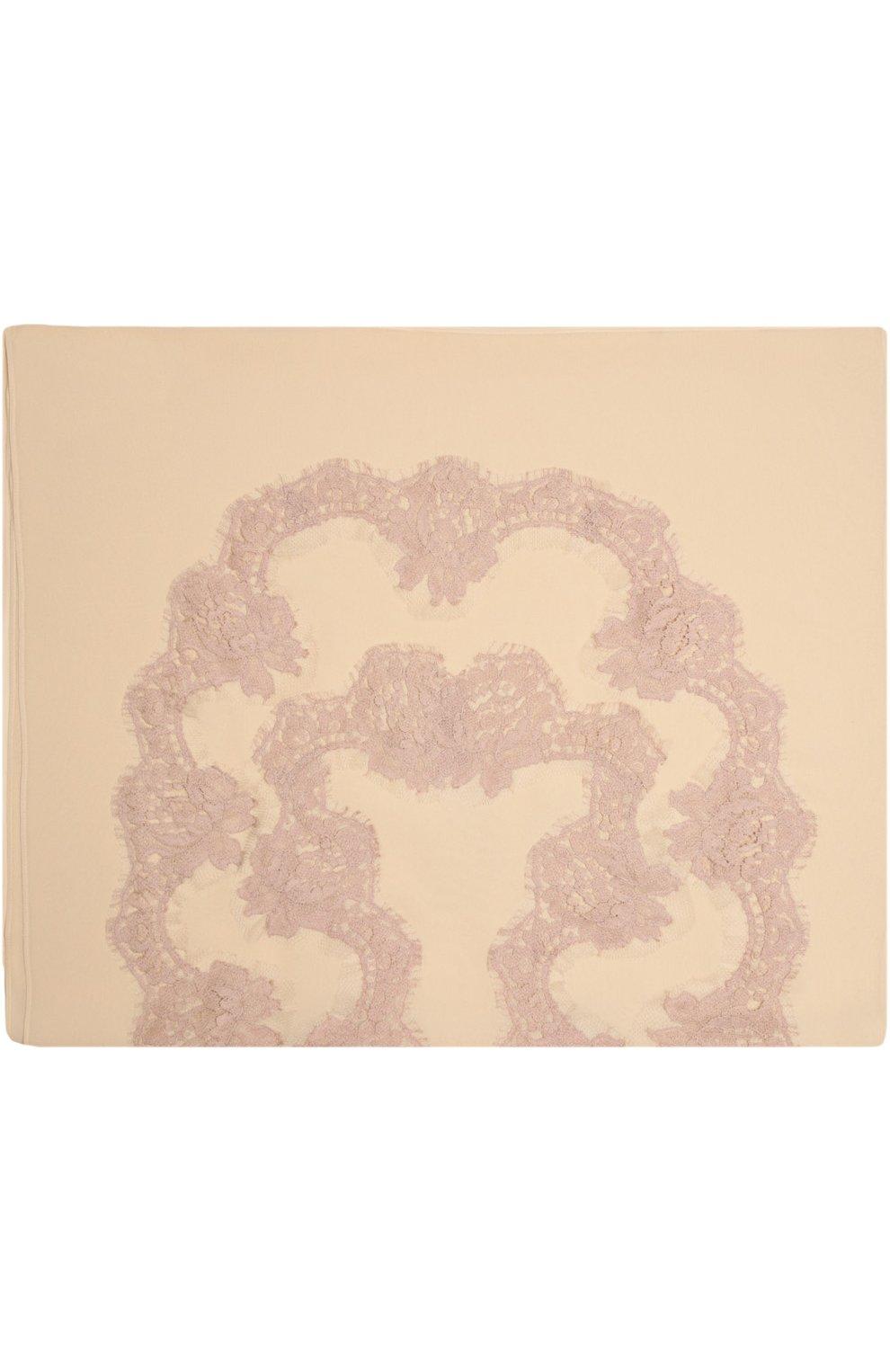 Шелковый платок с кружевом Dolce & Gabbana бежевый   Фото №2