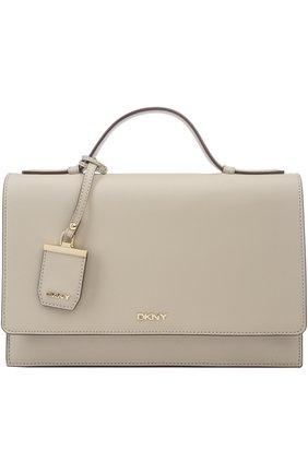 Кожаная сумка-портфель с клапаном и логотипом бренда   Фото №1