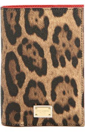 Обложка для паспорта с леопардовым принтом Dolce & Gabbana коричневого цвета | Фото №1