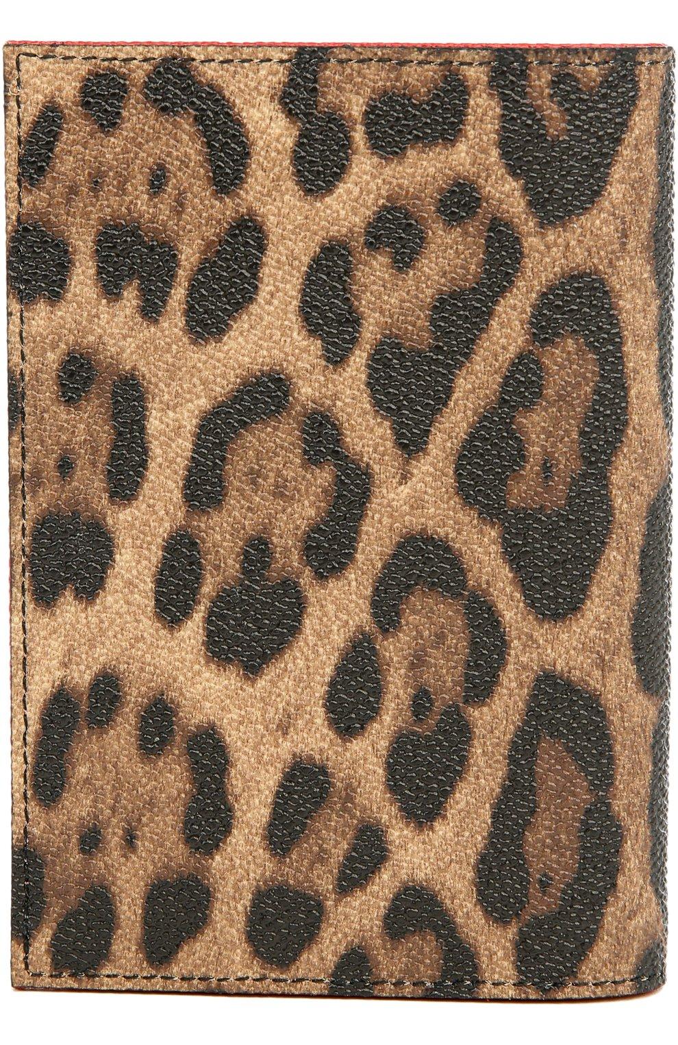 Обложка для паспорта с леопардовым принтом Dolce & Gabbana коричневого цвета | Фото №2