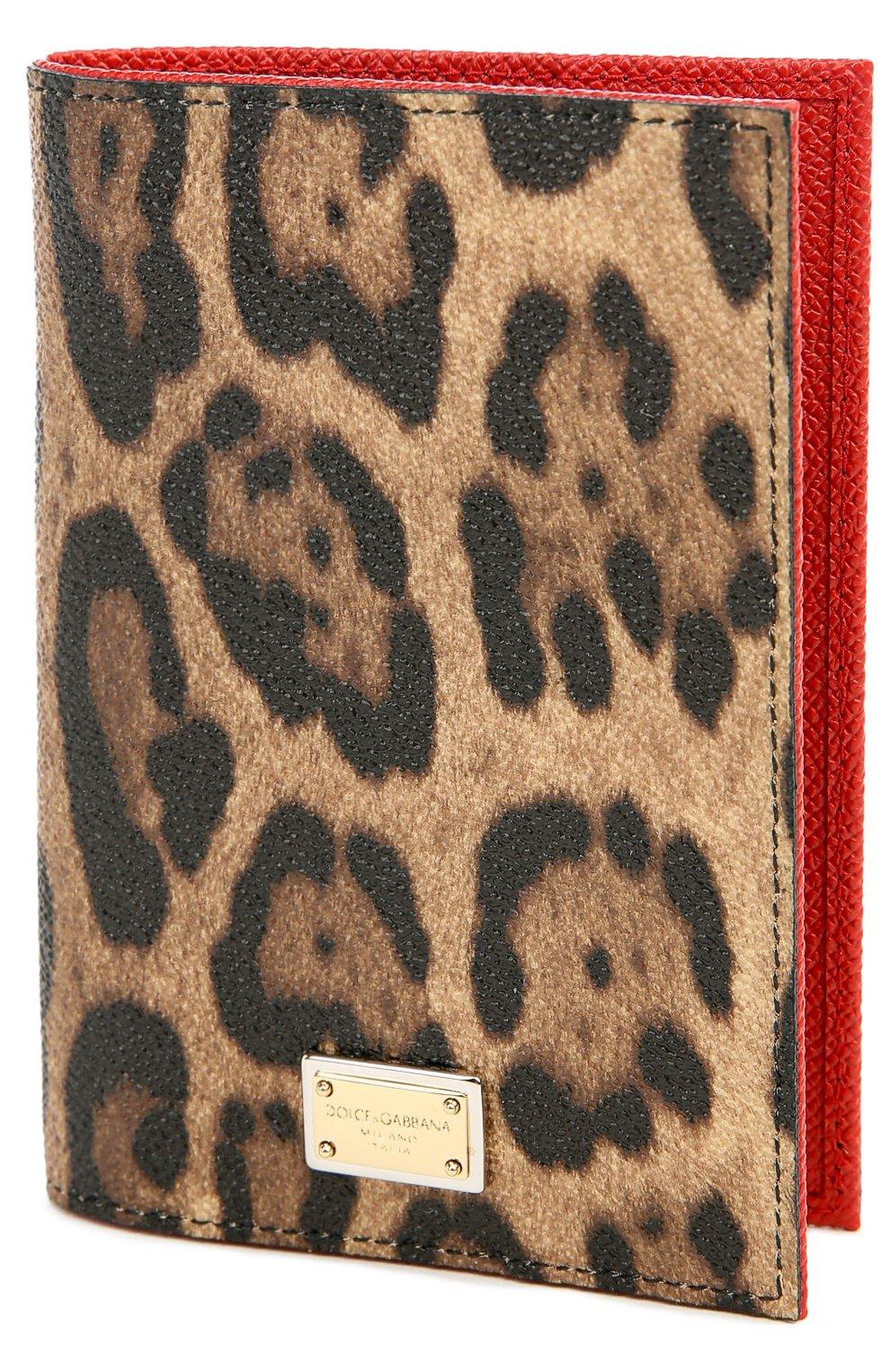 Обложка для паспорта с леопардовым принтом Dolce & Gabbana коричневого цвета | Фото №3