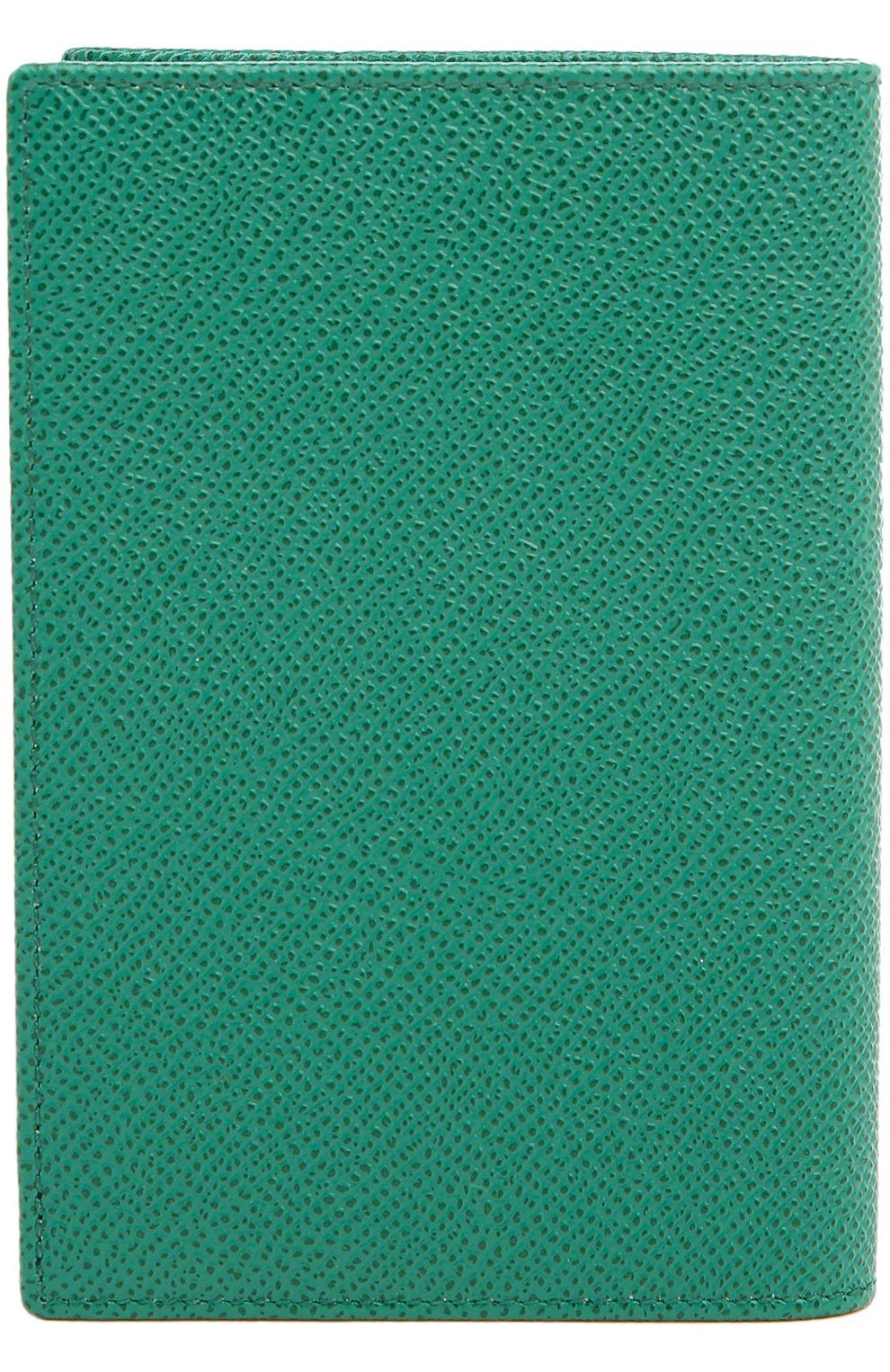 Кожаная обложка для паспорта Dolce & Gabbana зеленого цвета   Фото №2