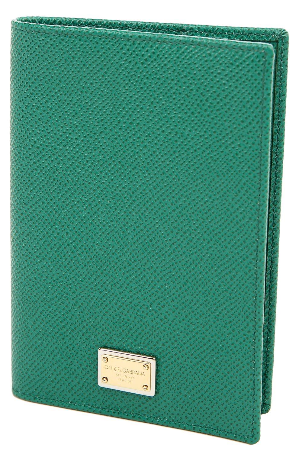Кожаная обложка для паспорта Dolce & Gabbana зеленого цвета   Фото №3