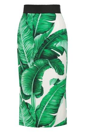 Юбка-карандаш с контрастным поясом и цветочным принтом Dolce & Gabbana зеленая | Фото №1