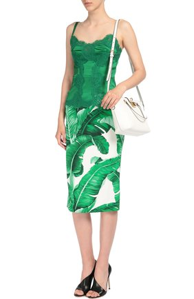 Юбка-карандаш с контрастным поясом и цветочным принтом Dolce & Gabbana зеленая | Фото №2
