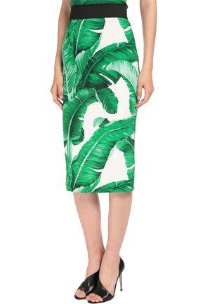 Юбка-карандаш с контрастным поясом и цветочным принтом Dolce & Gabbana зеленая | Фото №3