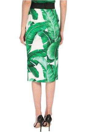 Юбка-карандаш с контрастным поясом и цветочным принтом Dolce & Gabbana зеленая | Фото №4