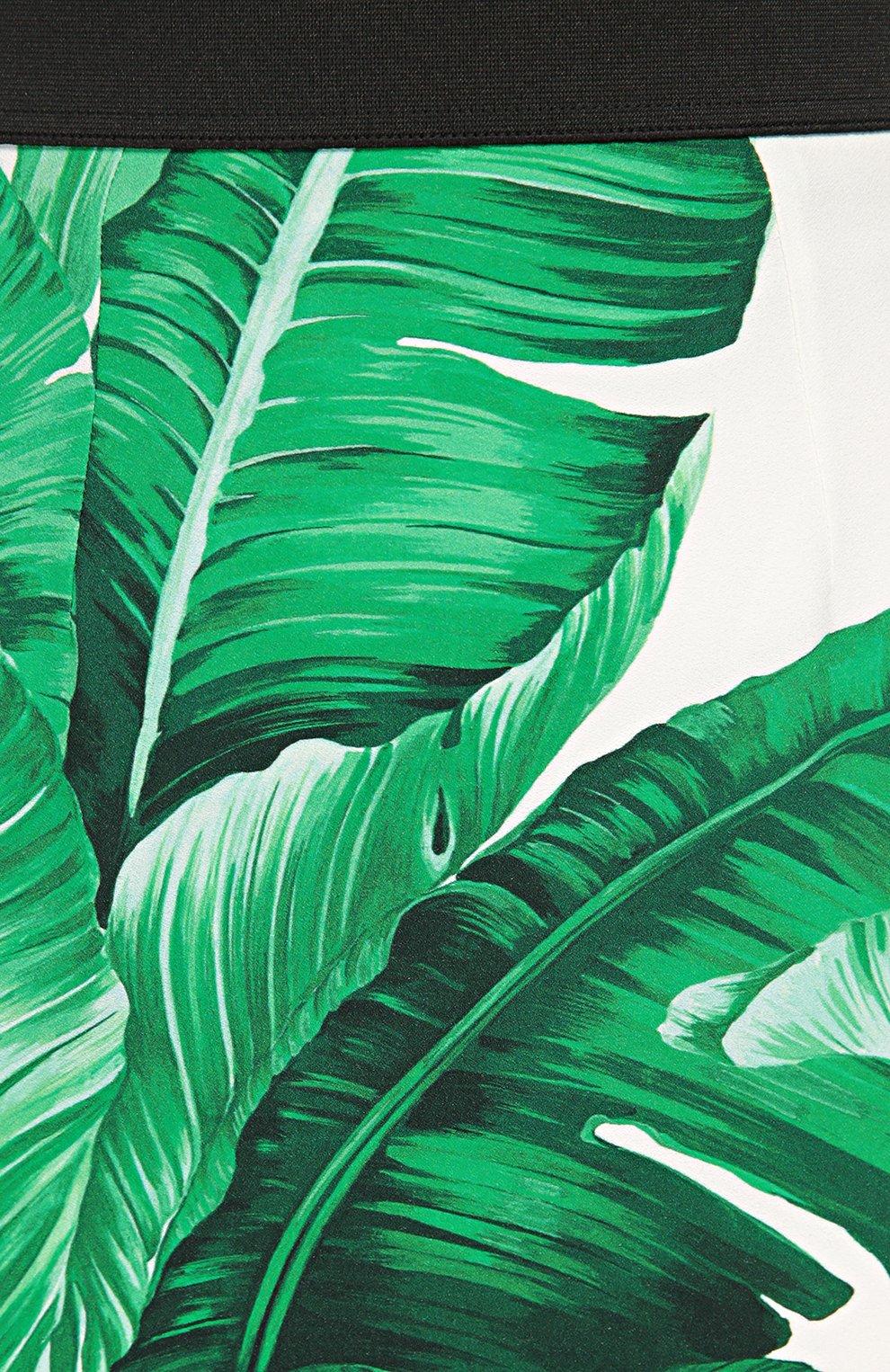 Юбка-карандаш с контрастным поясом и цветочным принтом Dolce & Gabbana зеленая | Фото №5