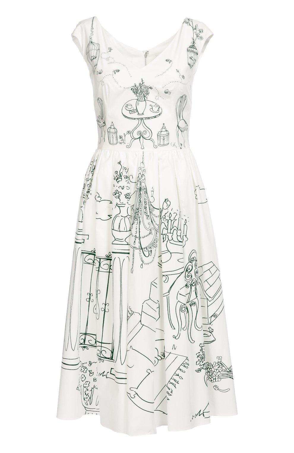 Приталенное платье с контрастным принтом и V-образным вырезом | Фото №1