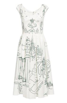 Приталенное платье с контрастным принтом и V-образным вырезом Dolce & Gabbana белое | Фото №1
