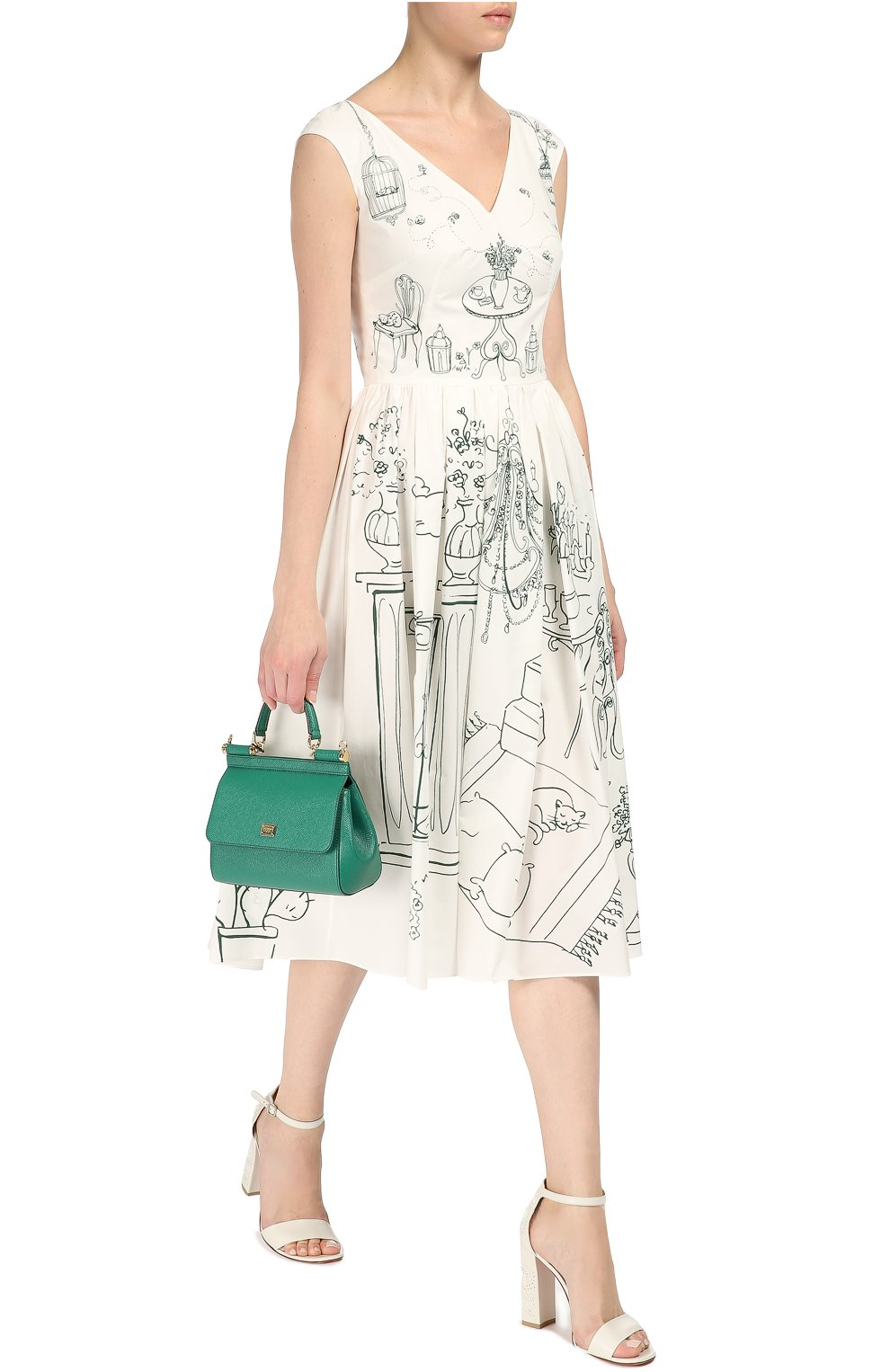 Приталенное платье с контрастным принтом и V-образным вырезом Dolce & Gabbana белое | Фото №2