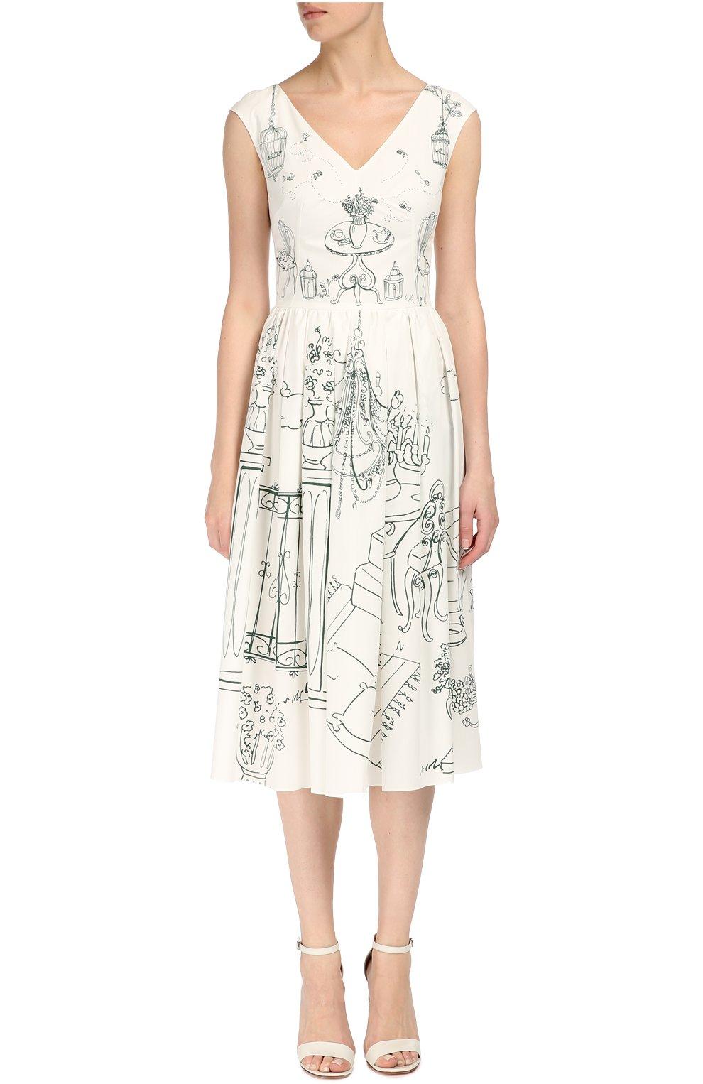 Приталенное платье с контрастным принтом и V-образным вырезом Dolce & Gabbana белое | Фото №3