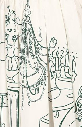 Приталенное платье с контрастным принтом и V-образным вырезом Dolce & Gabbana белое | Фото №5