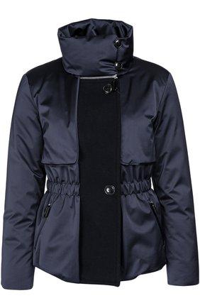 Утепленная приталенная куртка с высоким воротником | Фото №1