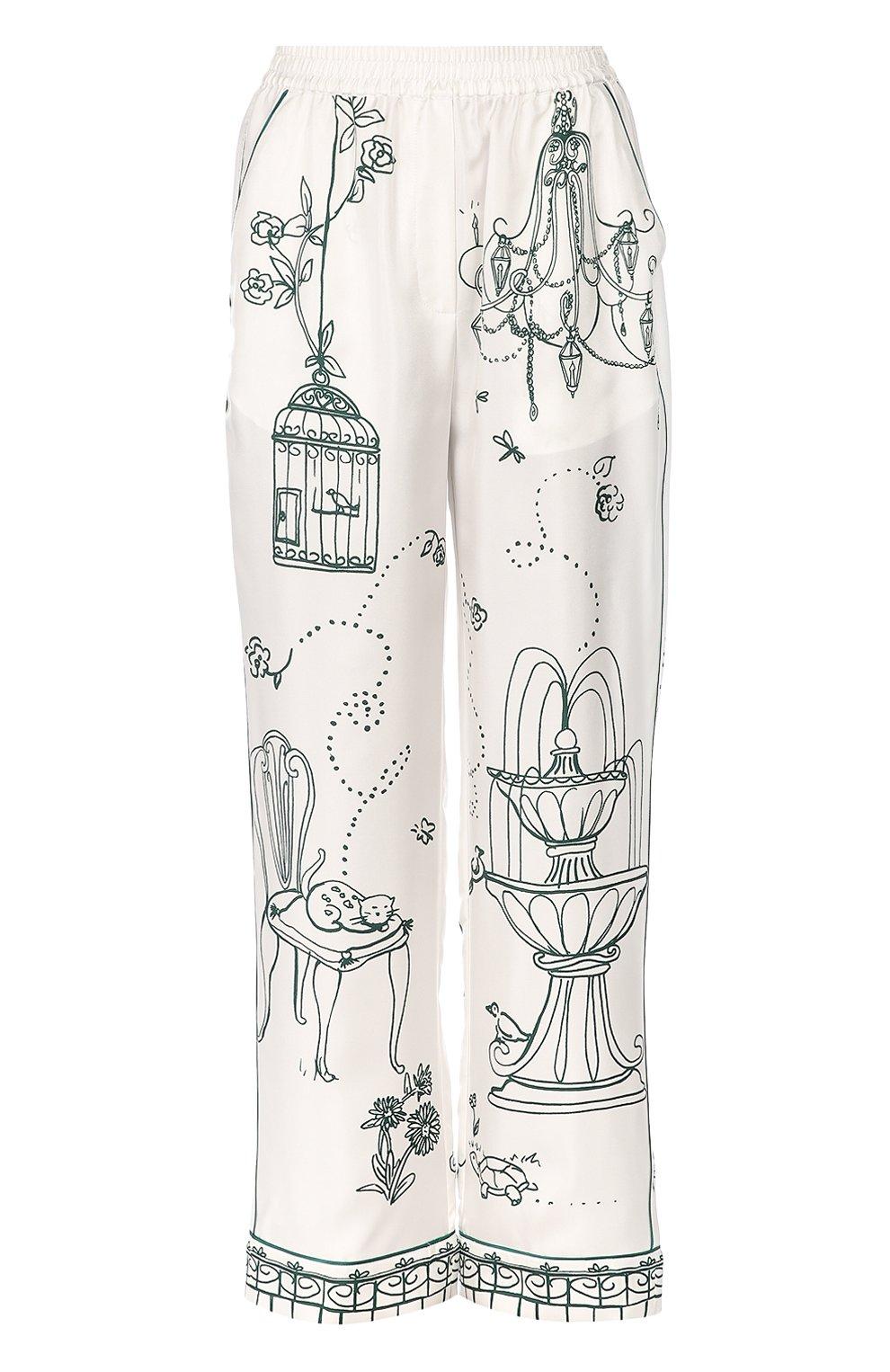 Шелковые брюки в пижамном стиле с контрастным принтом | Фото №1