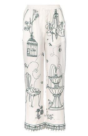 Шелковые брюки в пижамном стиле с контрастным принтом Dolce & Gabbana белые | Фото №1
