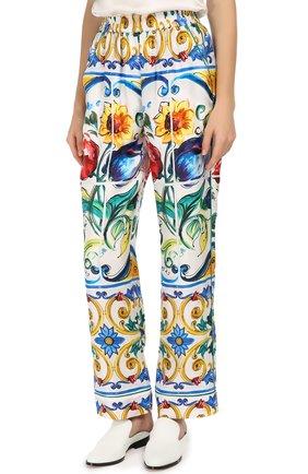 Шелковые брюки в пижамном стиле с ярким принтом | Фото №3