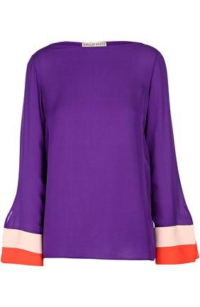 Шелковая блуза с вырезом-лодочка и контрастной отделкой | Фото №1