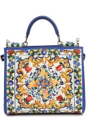 Кожаная сумка-тоут Sicily  с принтом | Фото №1