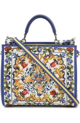 Кожаная сумка-тоут Sicily  с принтом | Фото №3