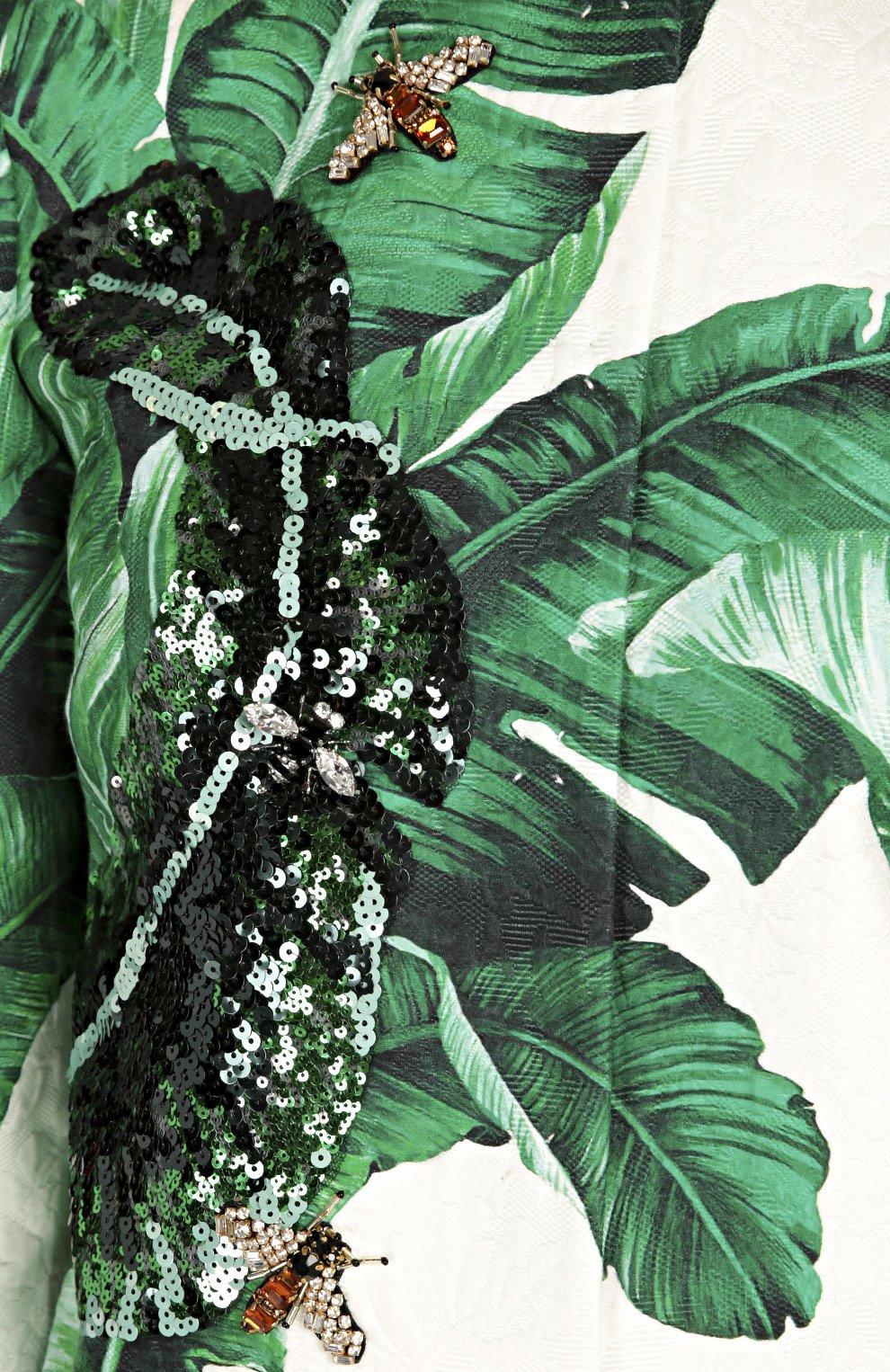 Жакет с укороченным рукавом, цветочным принтом и вышивкой | Фото №5