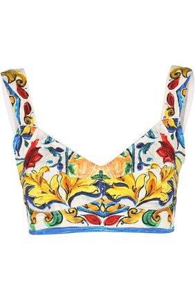 Топ-бюстье с ярким принтом Dolce & Gabbana разноцветный | Фото №1