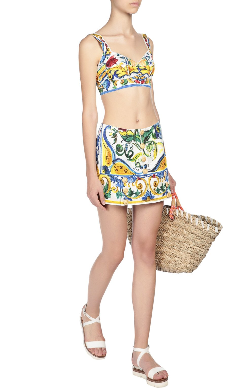 Топ-бюстье с ярким принтом Dolce & Gabbana разноцветный | Фото №2
