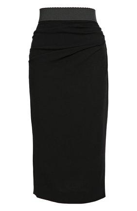 Юбка-карандаш с широким контрастным поясом Dolce & Gabbana черная   Фото №1