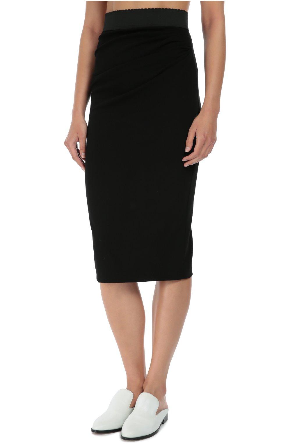 Юбка-карандаш с широким контрастным поясом Dolce & Gabbana черная   Фото №3