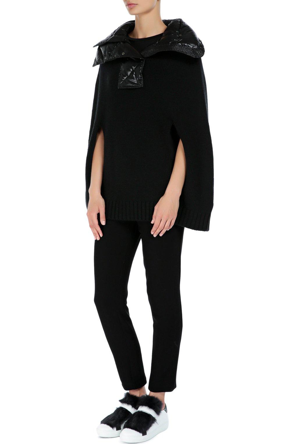 Шерстяная накидка с утепленным высоким воротником Moncler черная | Фото №2