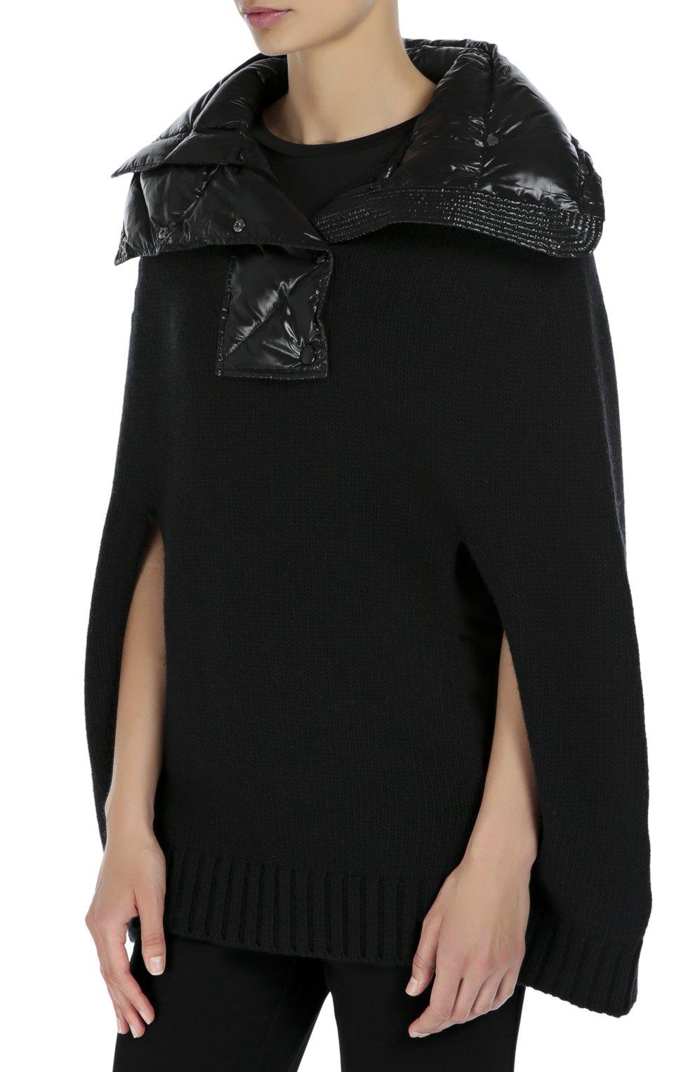 Шерстяная накидка с утепленным высоким воротником Moncler черная | Фото №3